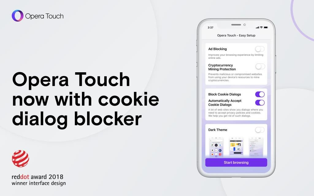 Opera Touch представляет блокировщик Cookie Dialog для iOS